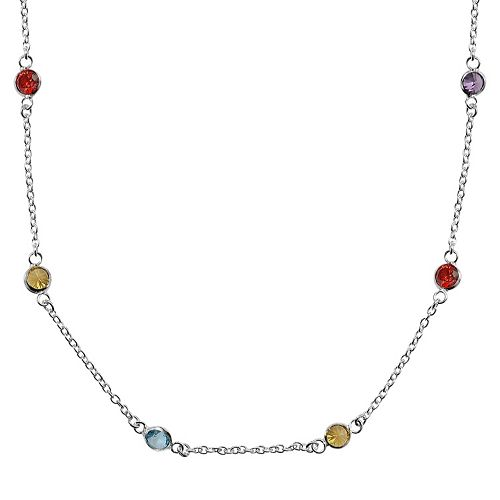 Sterling Silver Multicolor Cubic Zirconia Station Necklace - 24 in.