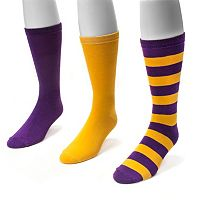 Adult MUK LUKS Game Day 3 pkCrew Socks