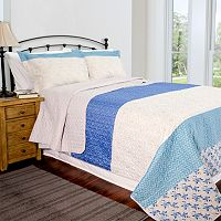 Pegasus Home Fashions Blue Stone Home ID Collection Contemporary Quilt Set