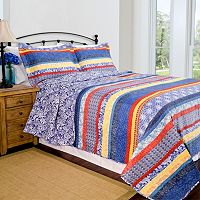 Pegasus Home Fashions Escapade Blue Home ID Collection Contemporary Quilt Set