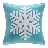 Madison Park Velvet Snowflake Throw Pillow