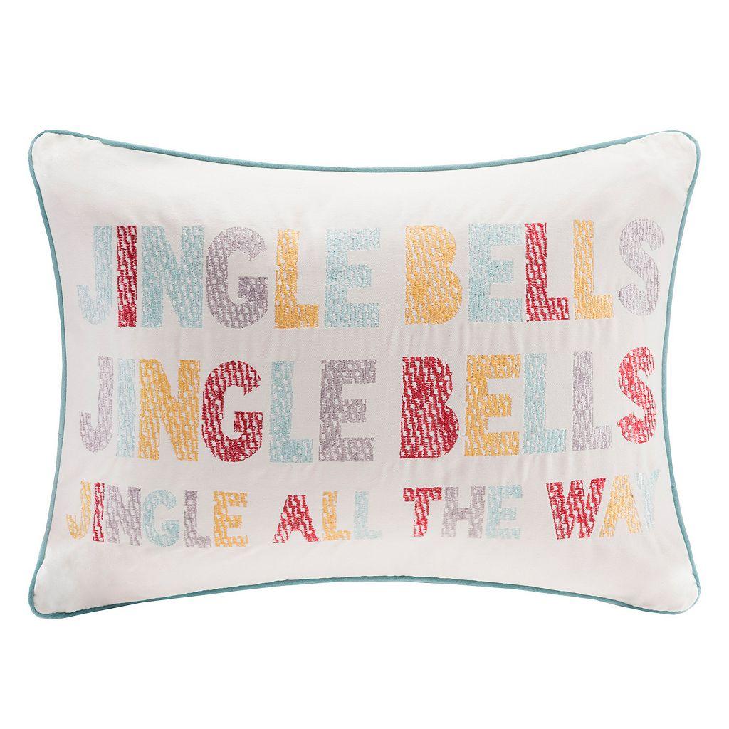 Madison Park Velvet Jingle Bells Throw Pillow