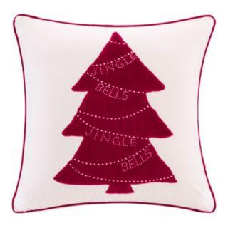 Madison Park Velvet Jingle Bells Tree Throw Pillow