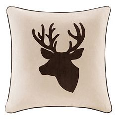 Madison Park Deer Embroidered Faux Suede Throw Pillow