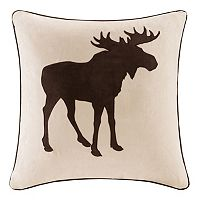 Madison Park Moose Embroidered Faux Suede Throw Pillow