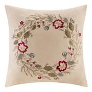 Madison Park Wreath Embroidered Faux Suede Throw Pillow