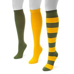 Adult MUK LUKS Game Day 3-pk. Knee-High Socks