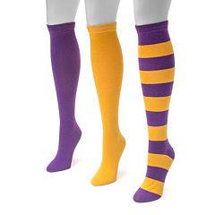 Adult MUK LUKS Game Day 3 pkKnee-High Socks