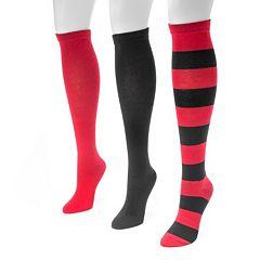 Adult MUK LUKS Game Day 3-pk. Knee-High Socks