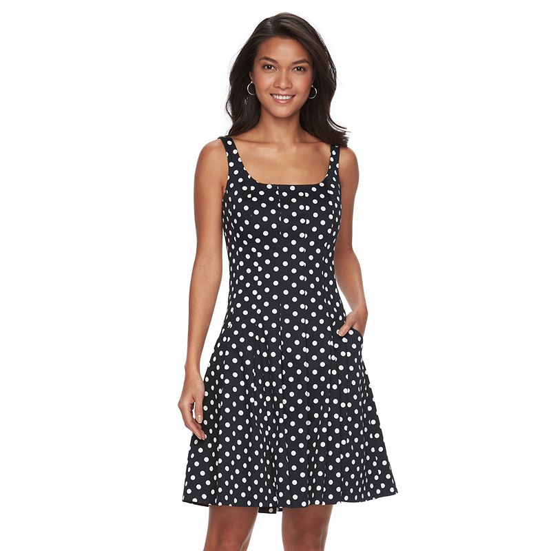 Petite Chaps Polka-Dot Sateen Fit & Flare Dress