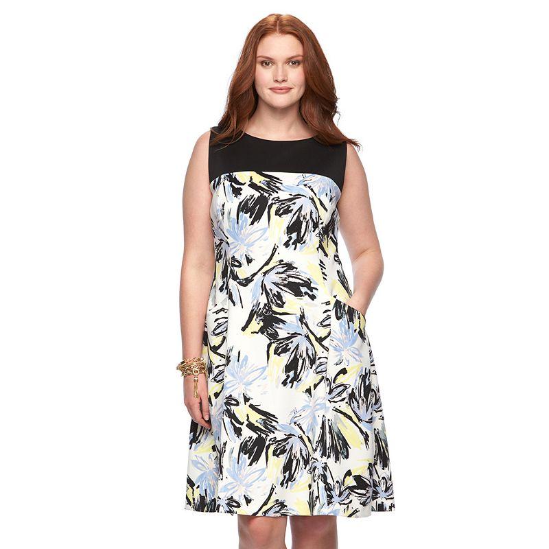 Plus Size Chaps Floral Ponte Sheath Dress