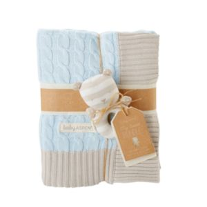 Baby Aspen My Sweet Baby Cable Knit Blanket & Rattle Gift Set