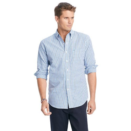 Men 39 s izod essential tattersal button down shirt for Izod button down shirts