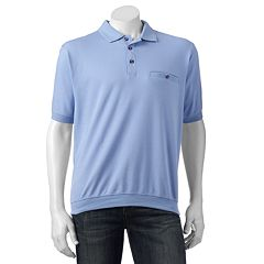 Men's Safe Harbor Solid Textured Ottoman Banded-Bottom Polo