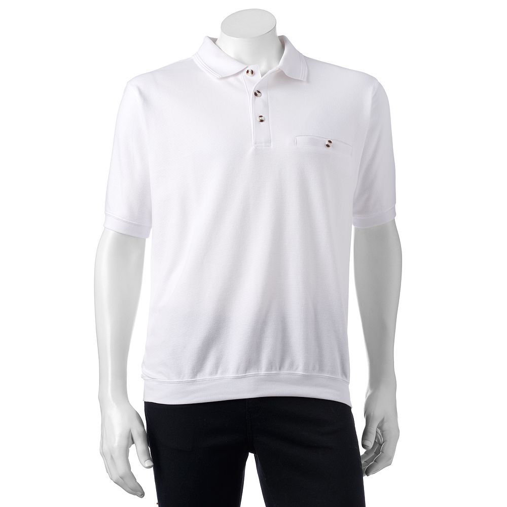 Mens Safe Harbor Solid Textured Banded Bottom Polo