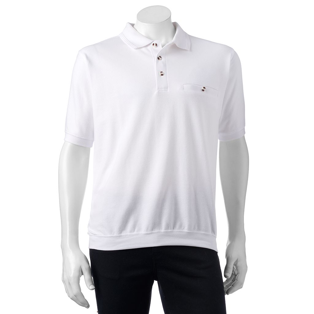 Men's Safe Harbor Solid Textured Banded-Bottom Polo