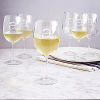 Cathy's Concepts 6 pc Monogram White Wine Glass Set