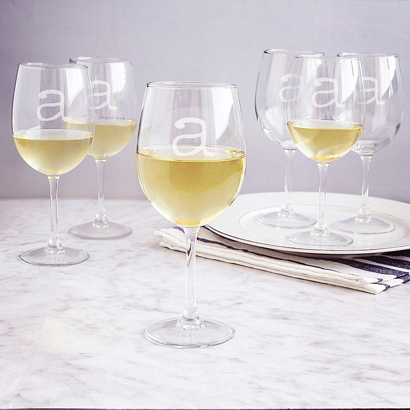 Cathy's Concepts 6-pc. Monogram White Wine Glass Set, Multicolor