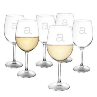 Cathy's Concepts 6-pc. Monogram White Wine Glass Set