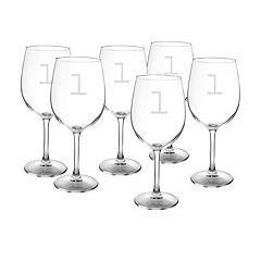 Cathy's Concepts 6 pc Monogram White Wine Glass Set