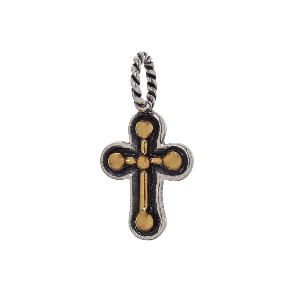 Individuality Beads 24k Gold Over Silver & Sterling Silver Cross Charm