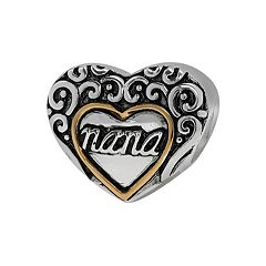 Individuality Beads Sterling Silver & 14k Gold Over Silver 'Nana' Heart Bead