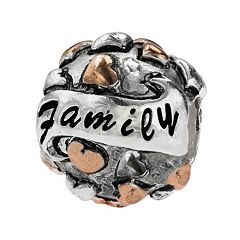 Individuality Beads Sterling Silver & 14k Rose Gold Over Silver 'Family' Bead