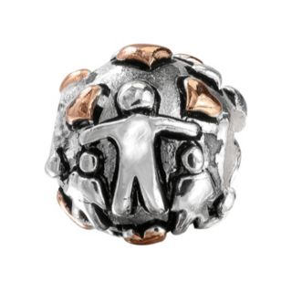 """Individuality Beads Sterling Silver & 14k Rose Gold Over Silver """"Family"""" Bead"""