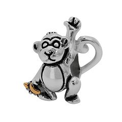 Individuality Beads Sterling Silver & 14k Gold Over Silver Monkey Bead