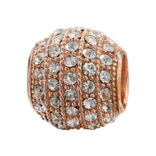 Individuality Beads Crystal 14k Rose Gold Over Silver Bead