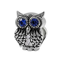 Individuality Beads Crystal Sterling Silver Owl Bead