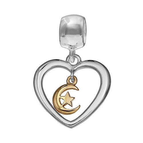 Individuality Beads Two Tone Sterling Silver Moon & Star Heart Charm