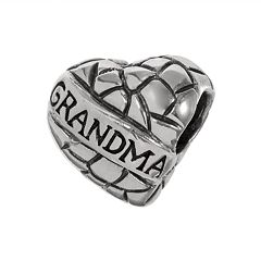 Individuality Beads Sterling Silver 'Grandma' Heart Bead