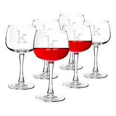 Cathy's Concepts 6-pc. Monogram Red Wine Glass Set