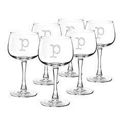 Cathy's Concepts 6 pc Monogram Red Wine Glass Set