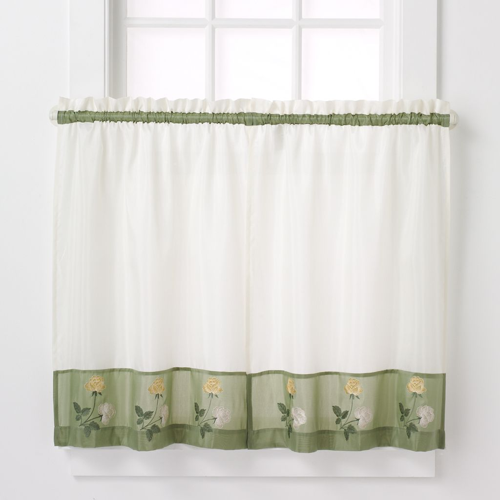 CHF Rose Tailored Tier Kitchen Window Curtain Set