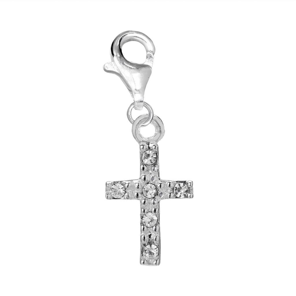 Individuality Beads Crystal Sterling Silver Cross Charm