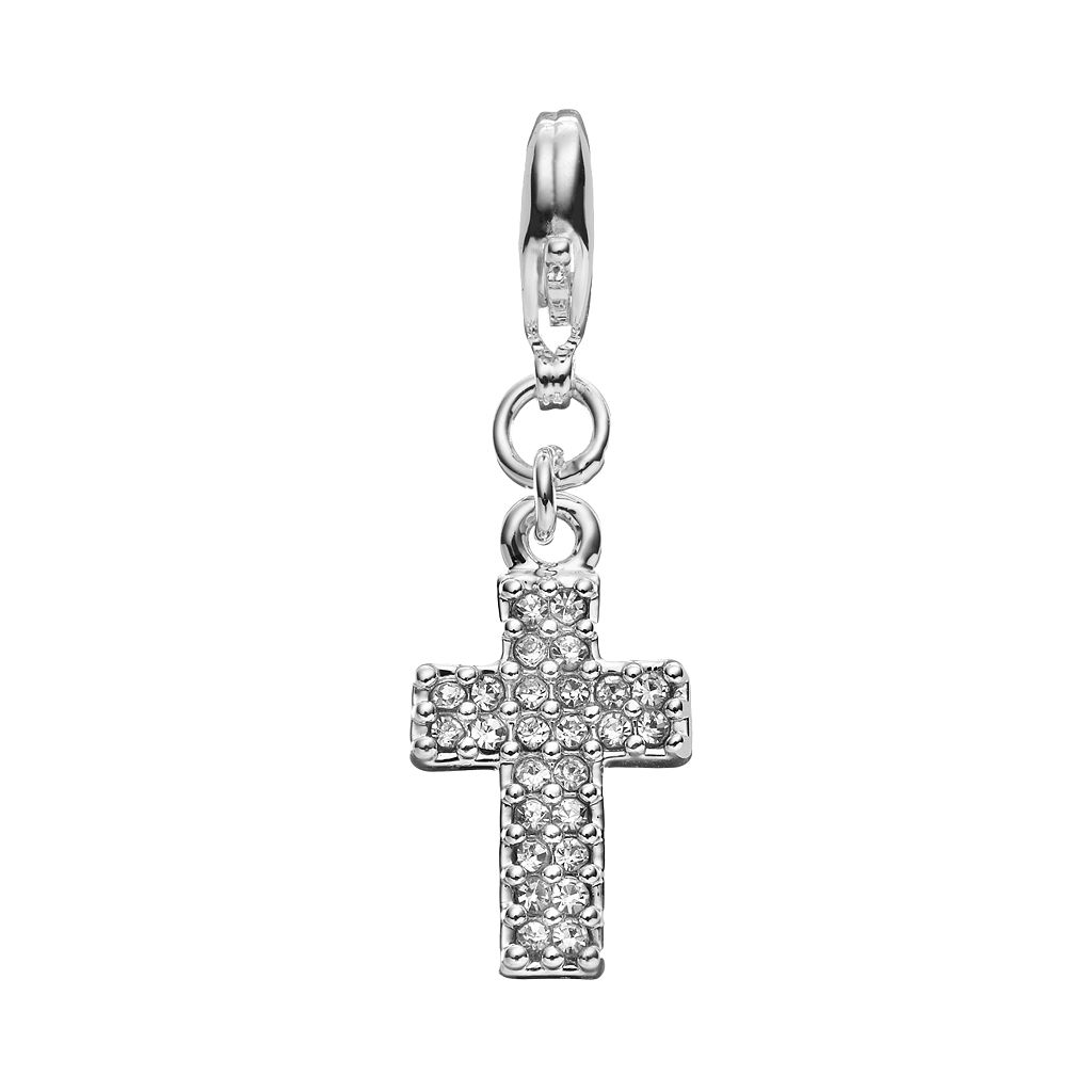 Blue La Rue Crystal Silver-Plated Cross Charm