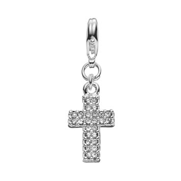 Blue La Rue Crystal Silver-Plated Cross Charm
