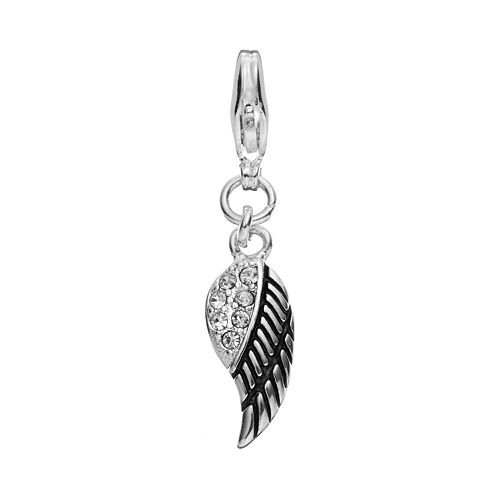 Blue La Rue Crystal Silver-Plated Wing Charm