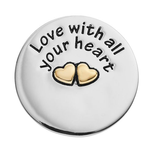 """Blue La Rue Stainless Steel & 14k Gold-Plated Two Tone """"Love With All Your Heart"""" Coin Charm"""