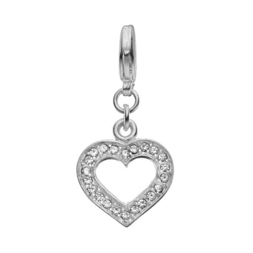 Blue La Rue Crystal Silver-Plated Cutout Heart Charm