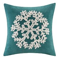 Madison Park Snowflake Embroidered Faux Suede Throw Pillow