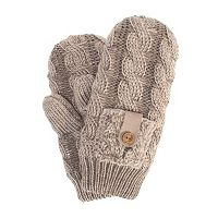 MUK LUKS Women's Braided Cable-Knit Mittens