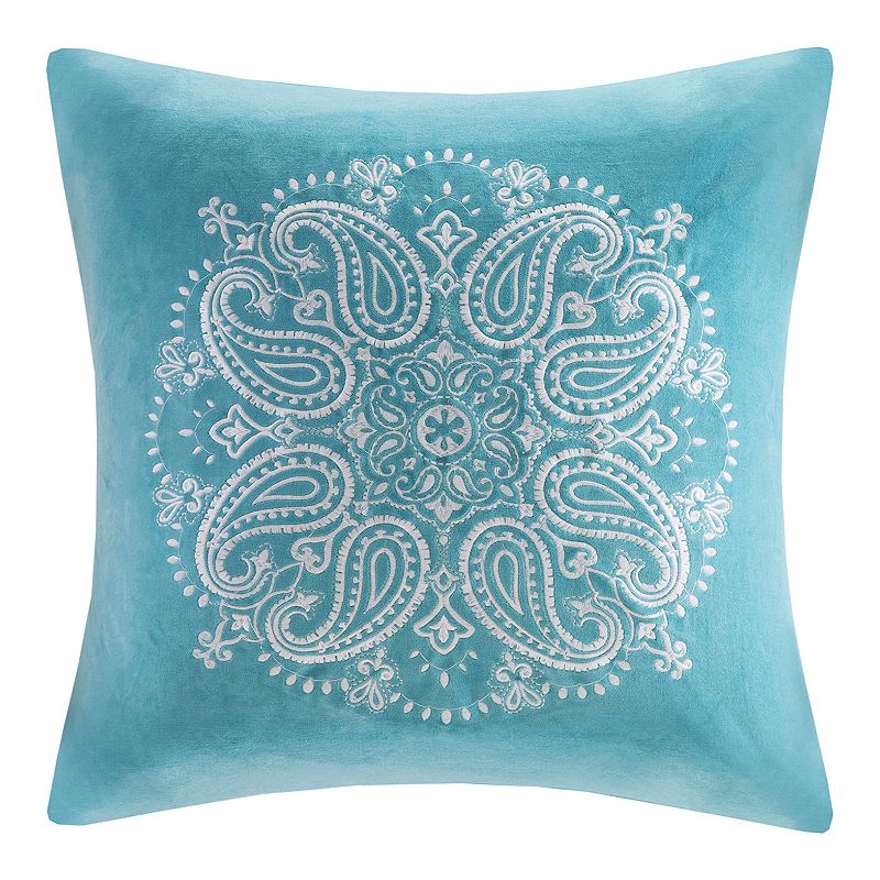 Madison Park Cotton Velvet Medallion Embroidered Throw Pillow