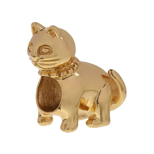 Individuality Beads 24k Gold Over Silver Cat Bead