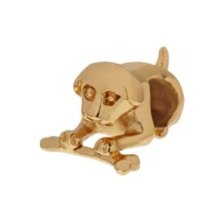 Individuality Beads 24k Gold Over Silver Dog & Bone Bead