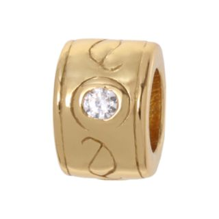 Individuality Beads Cubic Zirconia 24k Gold Over Silver Bead