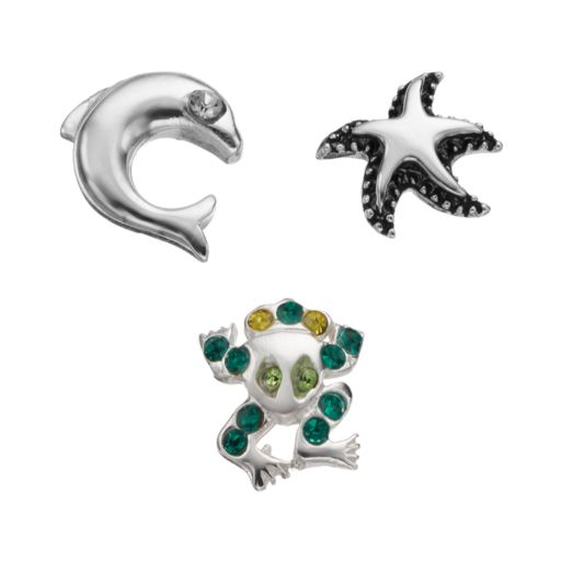 Blue La Rue Crystal Silver-Plated Frog, Starfish & Dolphin Charm Set