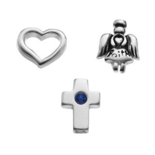 "Blue La Rue Crystal Silver-Plated Cutout Heart, ""Faith"" Angel & Cross Charm Set"
